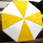 Octagonal Umbrella With Valance With Two-Tone Upgrade in Safety Yellow and White